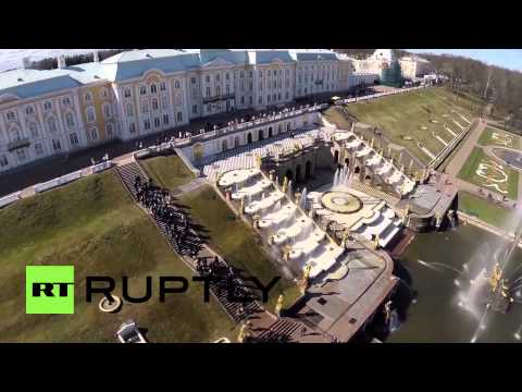 Russia: Drone captures Peterhof Palace fountains springing into life