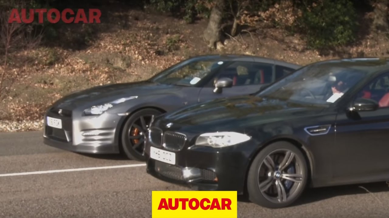 BMW M5 vs Nissan GT-R - www.autocar.co.uk - YouTube