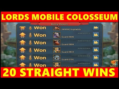 Lords Mobile Colosseum ✪ 20 PvP Wins In A Row ✪ IGG Lords Mobile Colosseum Arena PvP Gameplay