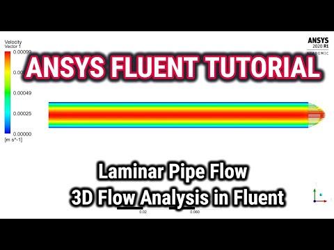 ANSYS Fluent Tutorials,Laminar Pipe flow,3D laminar pipe flow analysis in Fluent