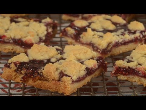 Raspberry Shortbread Bars Recipe Demonstration - Joyofbaking.com