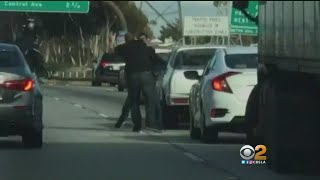 LA Freeway Fist Fight Caught On Camera