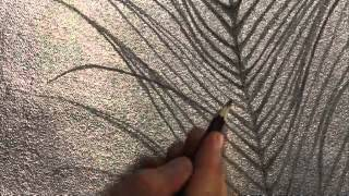 Art Lesson: How to Draw a Peacock Feather Using Silver Leaf and a Rigger Brush