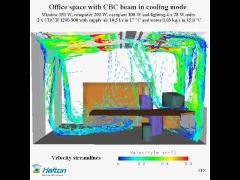 Cfd Modeling Of Air Flow From A Chilled Beam Youtube