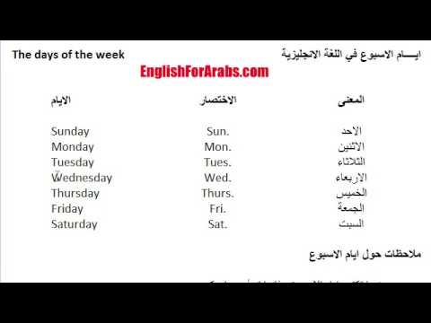 أيام الاسبوع بالعربي والانجليزي