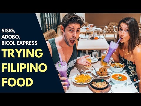 INCREDIBLE FILIPINO FOOD - TRYING SISIG, ADOBO, BICOL EXPRESS AND SINIGANG IN MANILA - FOOD VLOG