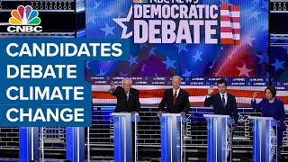 Democratic presidential candidates debate climate-change policy and fracking