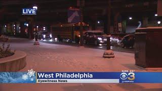 Snowy Weather Causing Traffic Jams In West Philadelphia