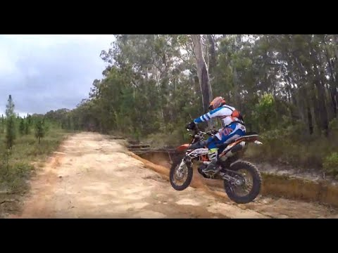 KTM  Enduro and DRZ hill climbs and single track and Glass House Mountains