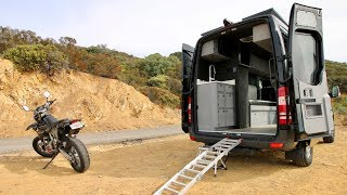 Mercedes Sprinter Van Converted into Camper with Motorcycle Inside