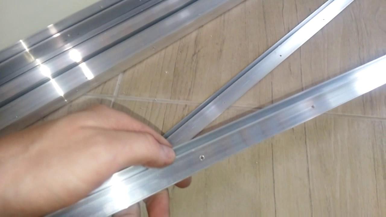 монтаж натяжного потолка алюминиевым потолочным багетом