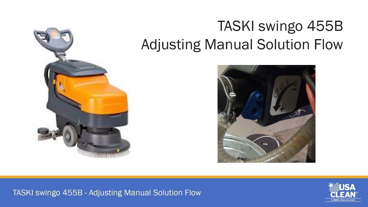 taski swingo 455b adjusting manual solution valve youtube rh youtube com Diversey Taski Cleaning Cart Taski Floor Machines Parts