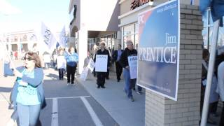 Health-care workers protest at Jim Prentice campaign office