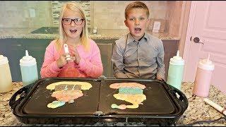 Sis vs Bro Pancake Art Challenge!