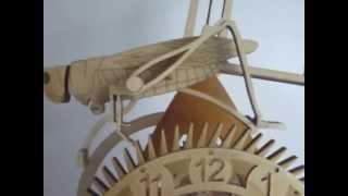 Wooden Geared Grasshopper Escapement Clock