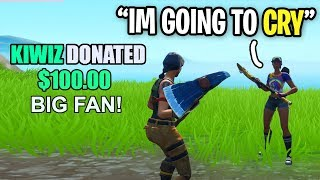 I donated $100 to a streamer with 0 VIEWERS in my lobby... (emotional)