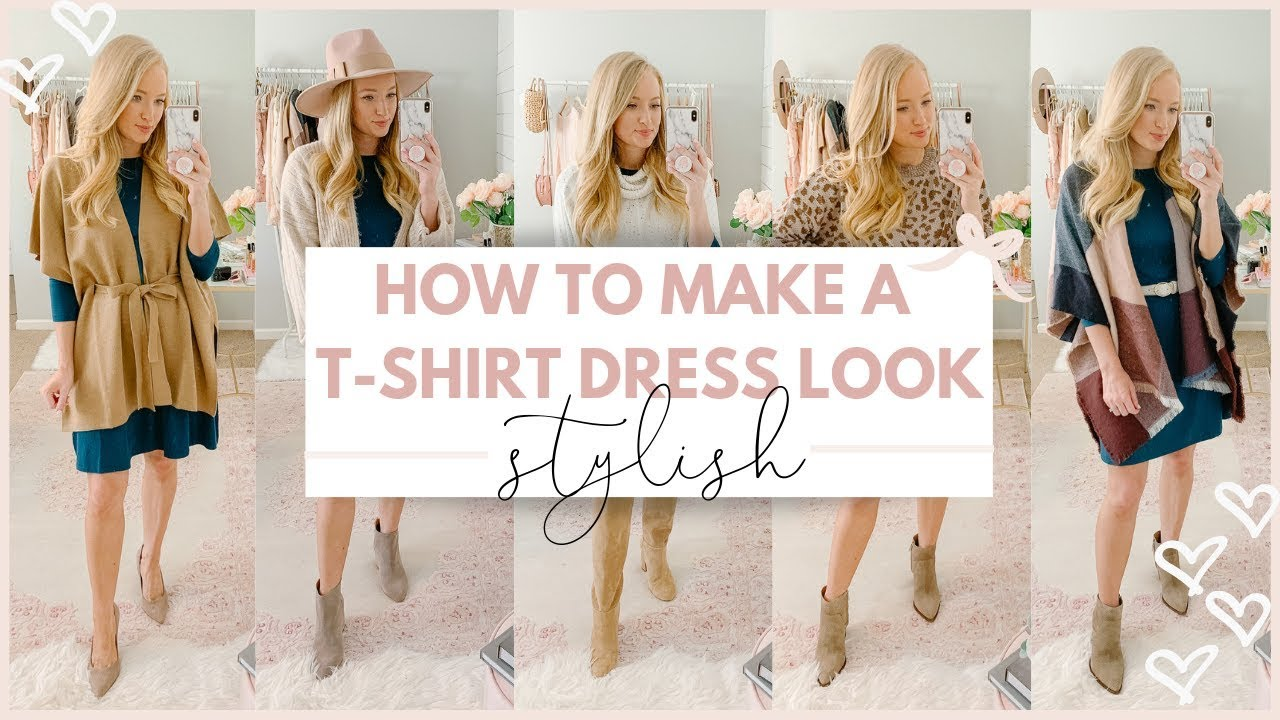 [VIDEO] - HOW TO MAKE A T SHIRT DRESS LOOK CUTE |  FALL OUTFIT IDEAS 2019 | Amanda John 3