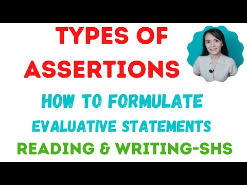 Types of assertion according to degree of certainty Evaluative statement in a text