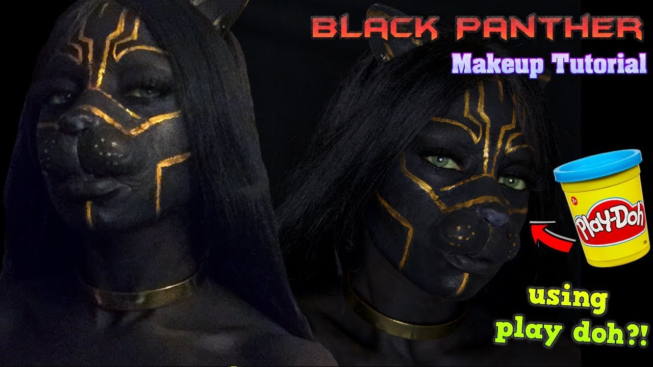 ThouArtAnuli: HOW TO MAKE PROSTHETICS WITH PLAY DOH?! | BLACK PANTHER HALLOWEEN MAKEUP TUTORIAL