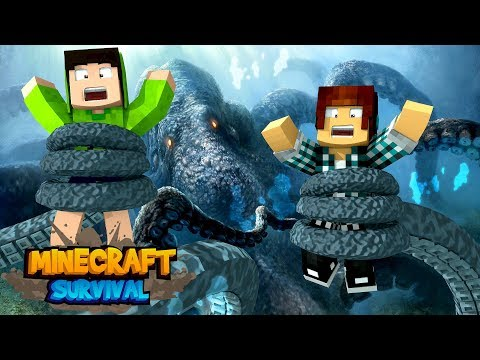 Minecraft Survival #26 - O KRAKEN NOS ATACOU !!
