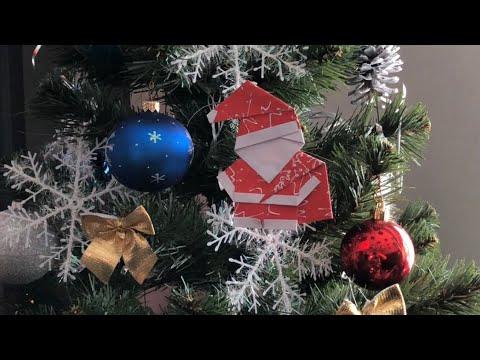 Новогодняя игрушка на ёлку Дед Мороз из бумаги. Christmas Santa Claus from paper. Origami DIY. DIY.