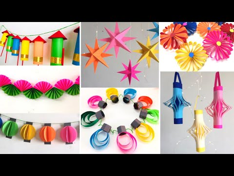 10 Easy Paper decoration ideas for Diwali | Room Decor ideas for Diwali and Christmas