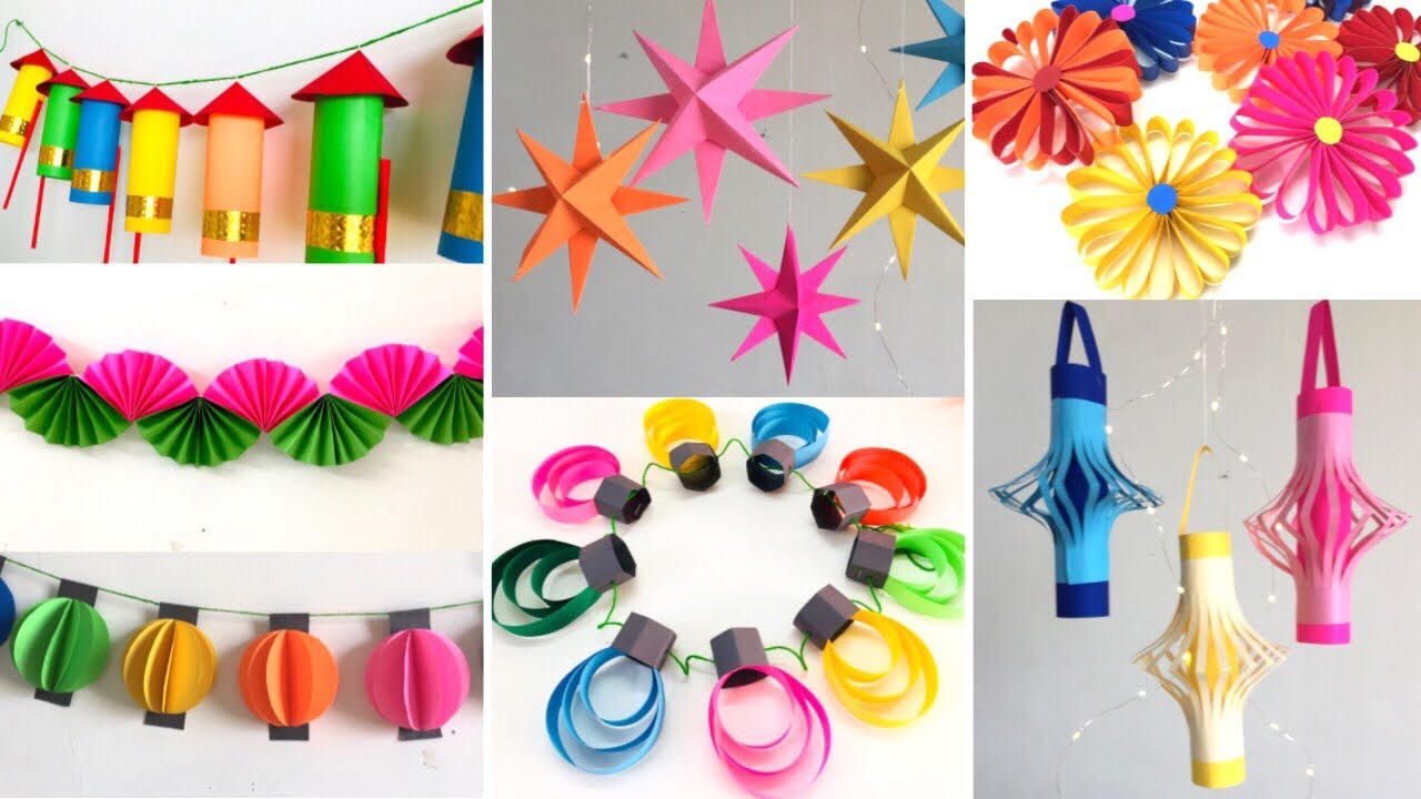 10 Easy Paper Decoration Ideas For Festival At Home Room Decor Ideas For Diwali Eid And Christmas Youtube