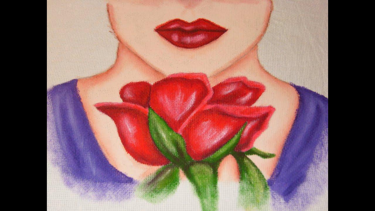 Diy c mo pintar en tela dama con rosa youtube - Como pintar azulejos a mano ...