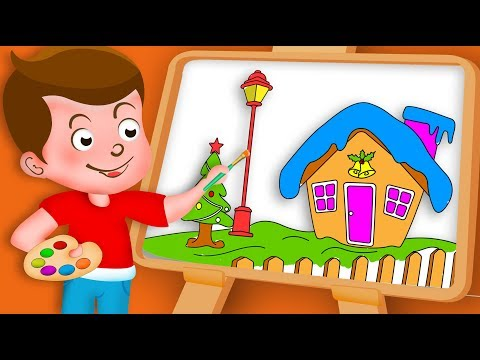 Drawing Christmas House Drawing Paint And Colouring For Kids | Kids Drawing TV