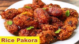 Rice Pakora | Leftover Rice Snacks | Easy Snacks Recipe | Toasted