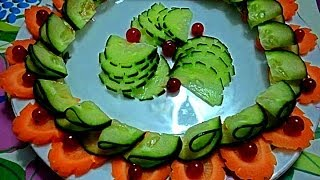 Карвинг из моркови и огурца. Как красиво украсить блюдо, стол.  Decoration of vegetables