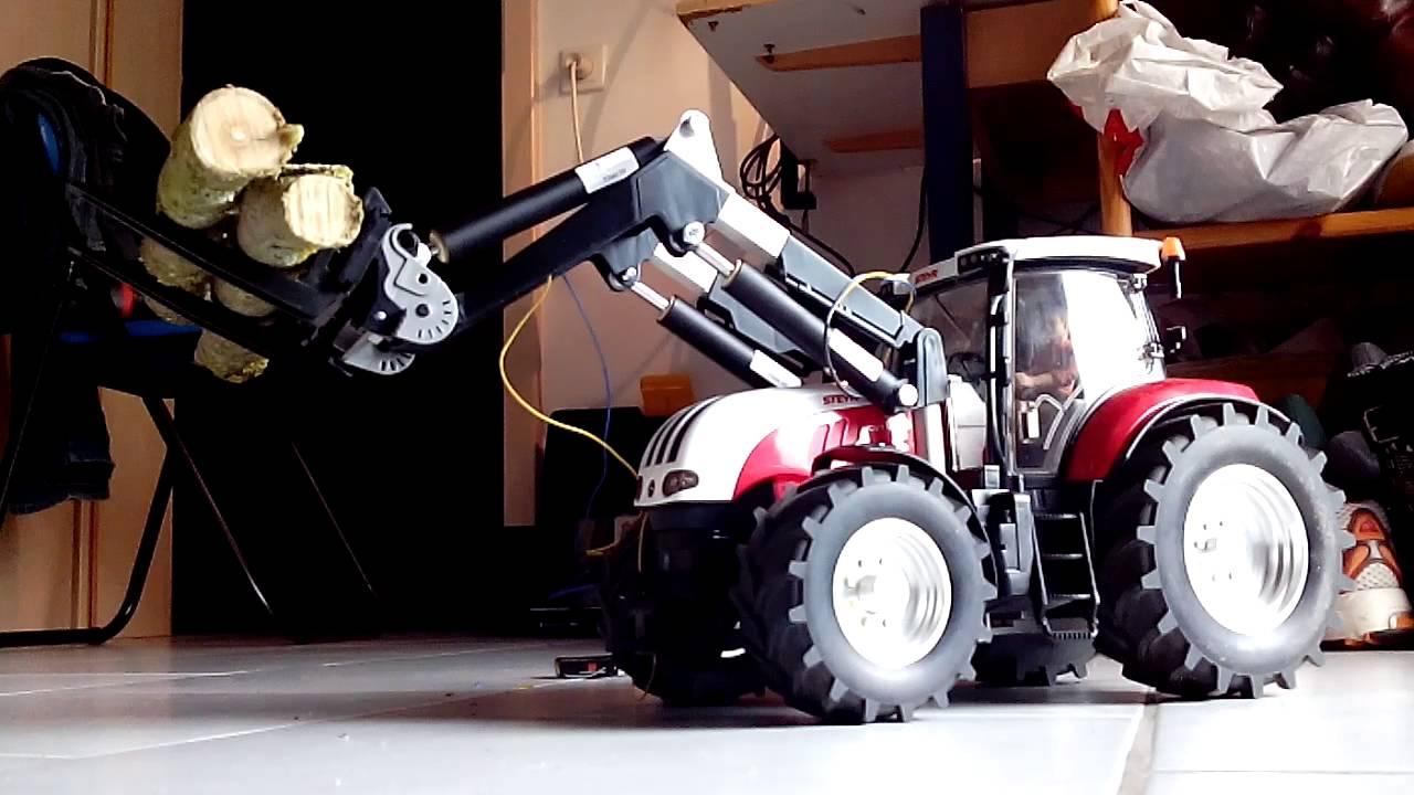 Rc bruder traktor steyr mit frontlader youtube