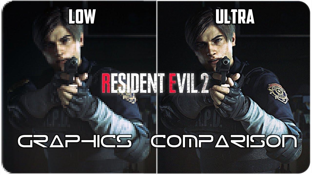 Resident Evil 2 - PC - Low  vs Ultra detailed Graphics Comparison 4K