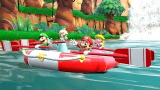Super Mario Party - River Survival 4 Players Battle (Mario, Luigi, Princess Peach & Daisy)