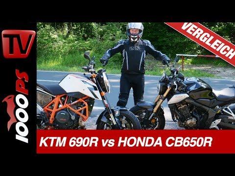 Einzylinder oder Vierzylinder? KTM 690 Duke R vs Honda CB650R Vergleich!