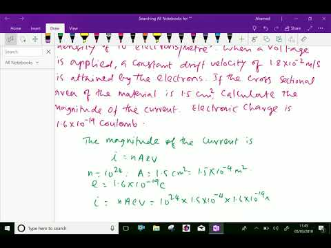 Electrical engineering : - ( Electron drift velocity ; Solving problem ) - 3.
