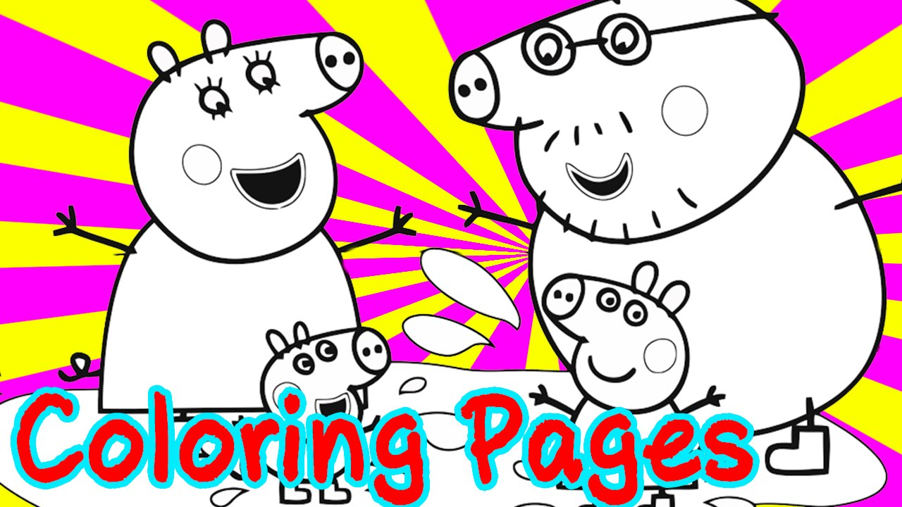 Peppa pig color pages - Peppa Pig Coloring Pages For Kids Coloring With Paints Peppa Pig And Her Family