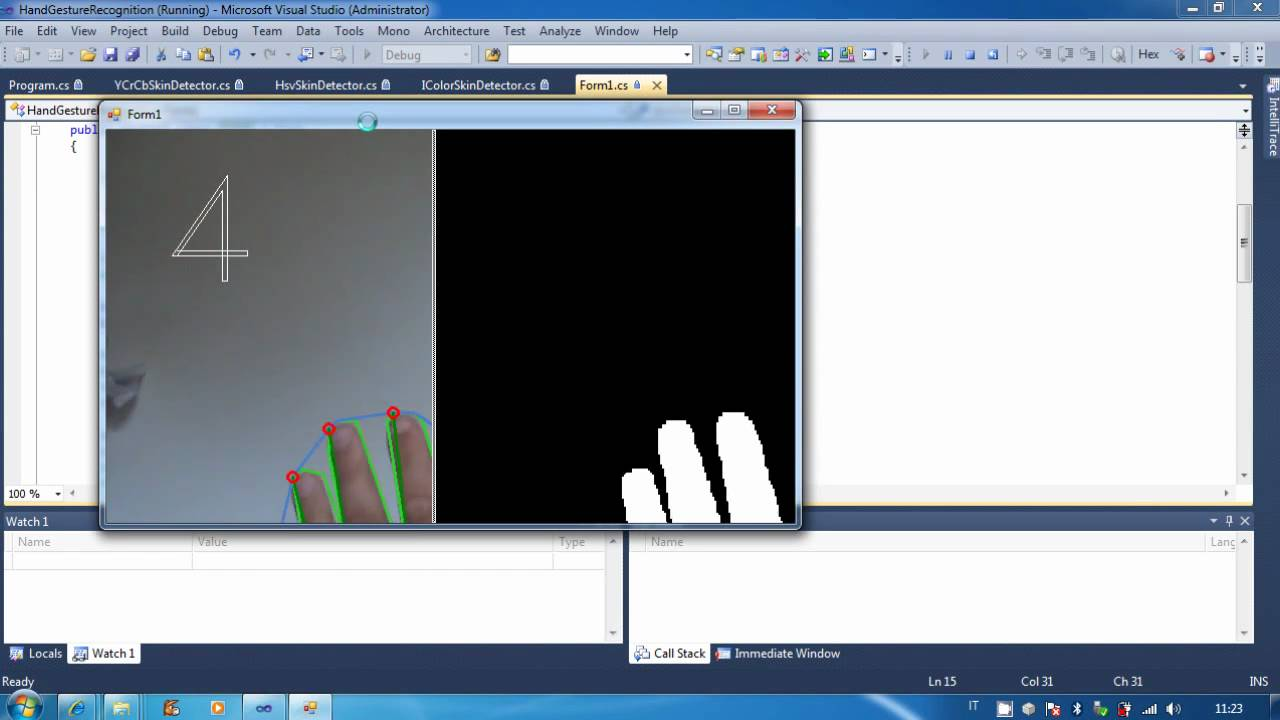 Hand Gesture Recognition powered by EmguCV