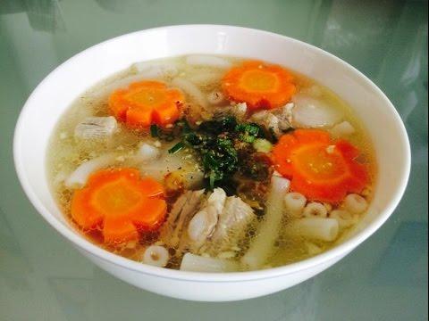 Rice macaroni pork ribs soup | Súp nui nấu với suờng non