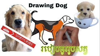 #Drawing How to draw the dog | The dog drawing | របៀបគូររូបសត្វឆ្កែ
