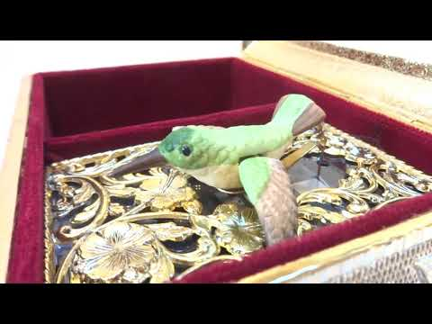 Vintage hummingbird automaton musical jewelry box