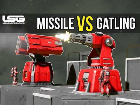 Missile Launcher VS Gatling Gun Turret Damage Testing - Space Engineers