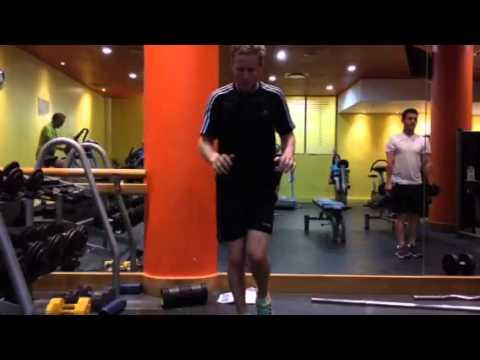 PGA Golfer and IJP Ambassador Matt Ford exercising in the gym.