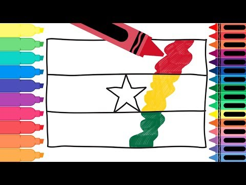 How to Draw Ghana Flag - Drawing the Flag of Ghana - Coloring Pages for kids | Tanimated Toys