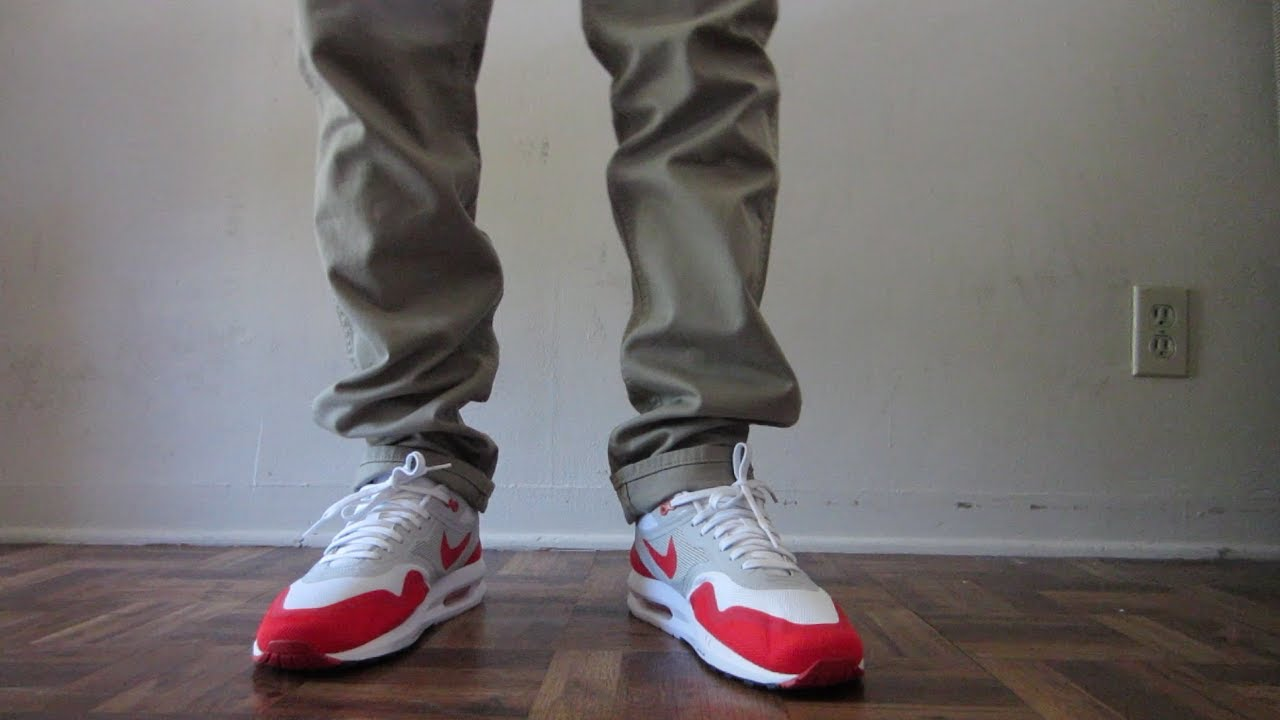 best authentic 75f6e a5067 Nike Air Max 1 Lunar OG Sport Red On Feet - YouTube