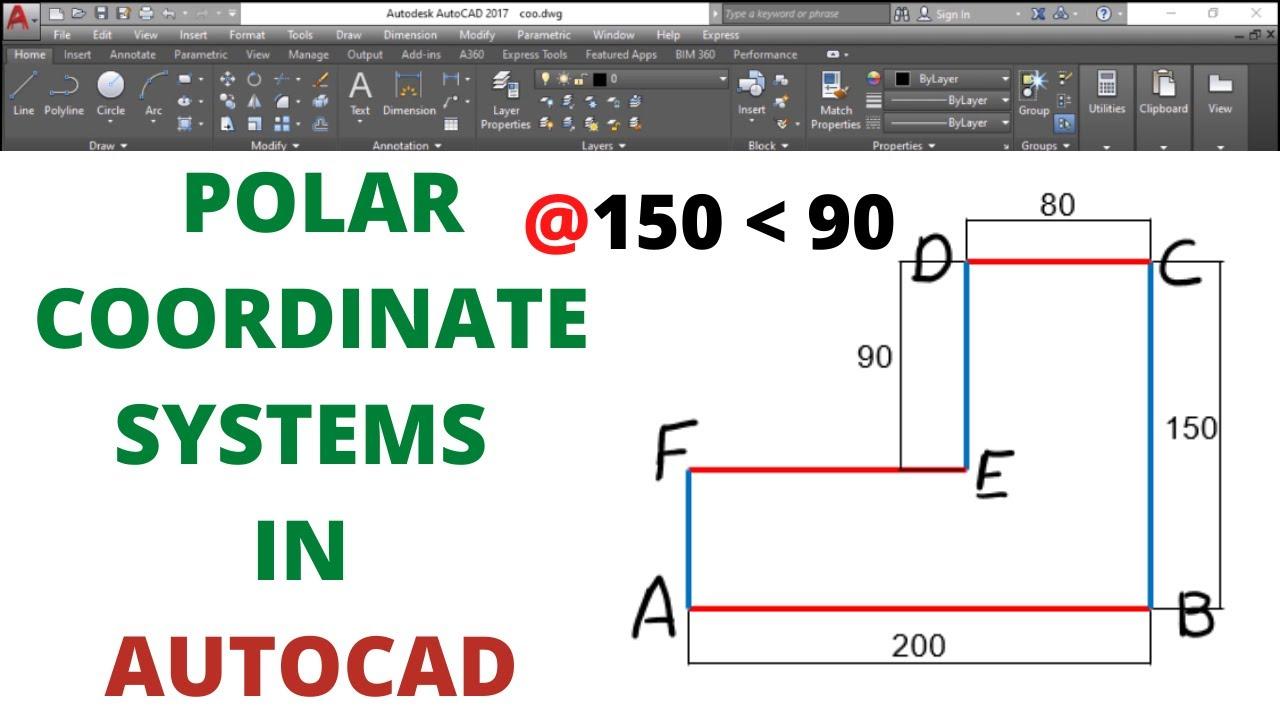 Download POLAR COORDINATES IN AUTOCAD