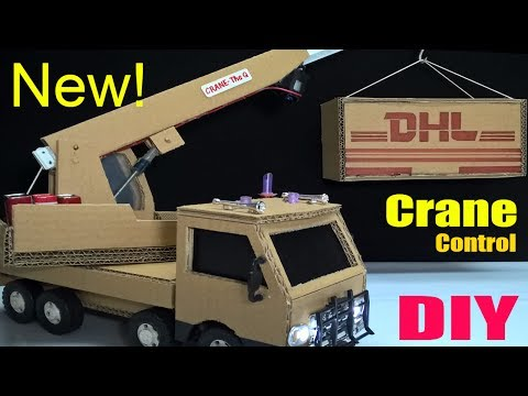 How to make a Crane Truck at home - Car Remote Control using Cardboard (Electric Truck)