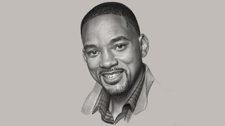 REAL-TIME Portrait Drawing Demonstration (Drawing Will Smith)