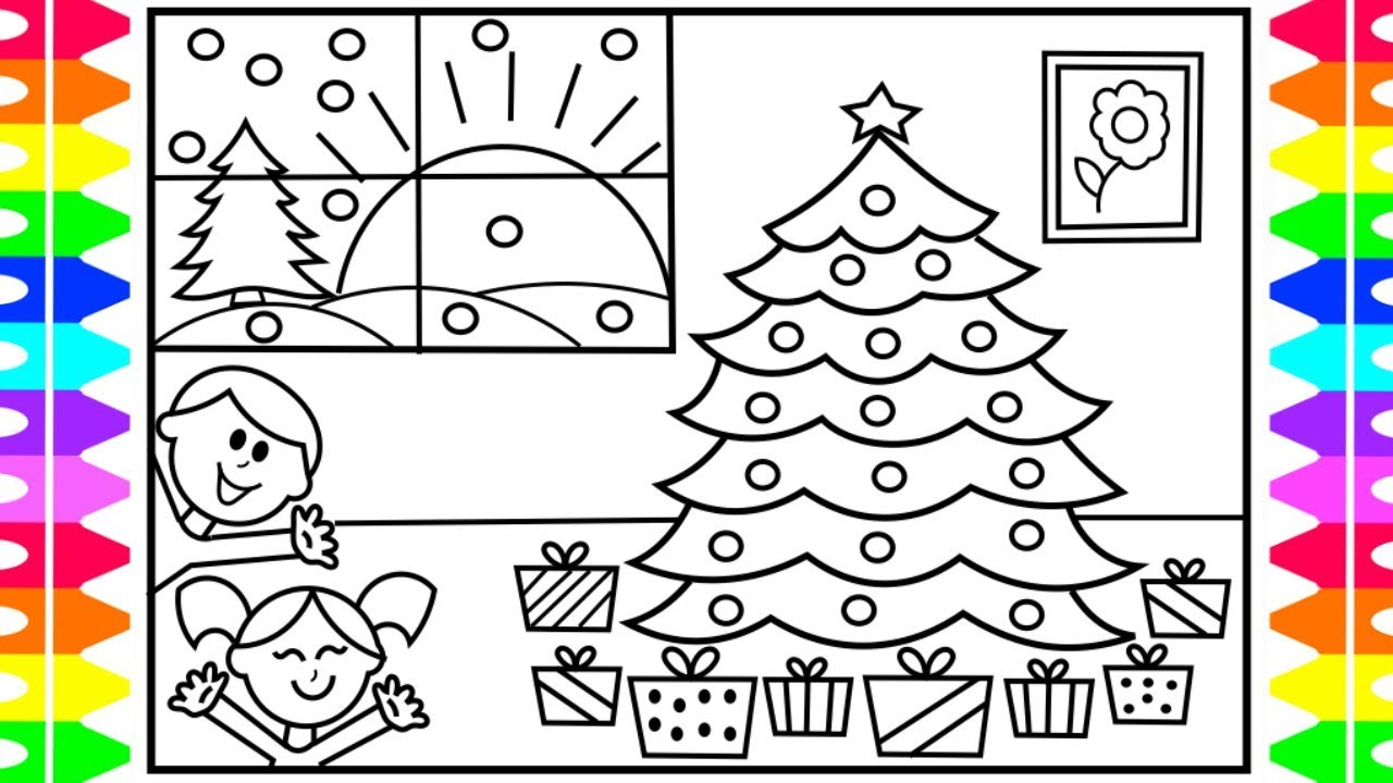 How To Draw Christmas Presents Under The Tree Christmas Coloring
