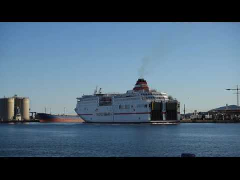 Large ferry docking at the port of Malaga, Spain